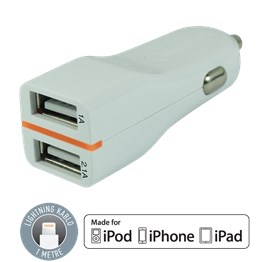 Tuncmatık Twıncharger-Lıghtnıng (Apple Mfı)-3.1A (2.1A+1A)-1Mt. Cable